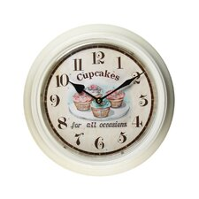"""11.8"""" Retro Round Playful """"Cupcakes for all Occasions"""" Wall Hanging Clock"""