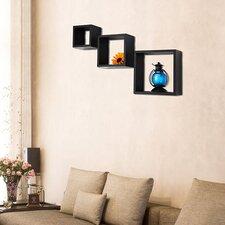 3 Piece Floating Square Wall Shelf Set