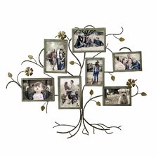 7 Opening Decorative Bronze-Color Iron Family Tree Collage Wall Hanging Picture Frame