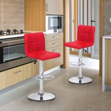 Adeco Adjustable Height Swivel Bar Stool with Cushion (Set of 2)