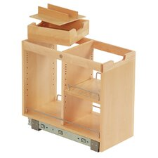 FindIT Kitchen Storage Organization Base Cabinet Pullout with Slide, Half Cutlery Tray and Shelf