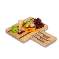 Arezzo Wooden Cheese Board with 3 Stainless Steel Cheese Knives