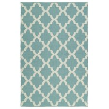 Brisa Teal & White Indoor/Outdoor Area Rug