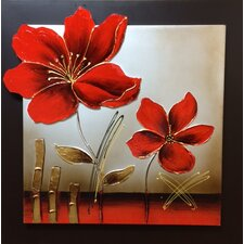 3D Effect Enamel Flower Original Painting on Wrapped Canvas