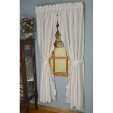 4 Piece Satin Stitch Scallop Tailored Curtain Pair with Tiebacks Set