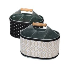 2 Piece Utensil Holder with Trellis Cover Set