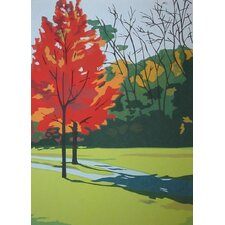 Limited Edition 'Small Red Tree' by Anne Silber Painting Print