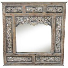 Balinese Carved Wooden Panel Mirror