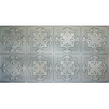"Glue-Up Fleur De Lis Pattern 12"" x 12"" Tin Ceiling Tile in Nickel"