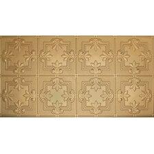 "Glue-Up Fleur De Lis Pattern 12"" x 12"" Tin Ceiling Tile in Brass"