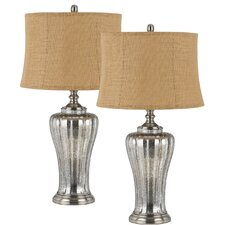 """Sarasota 3-Way Glass 31"""" H Table Lamp with Drum Shade (Set of 2)"""