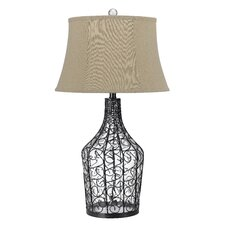 """Palestin 3-Way Glass 31"""" H Table Lamp with Bell Shade"""