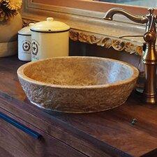 Chiseled Round Natural Stone Vessel Bathroom Sink