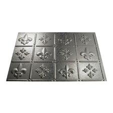 "Fleur de Lis 24.25"" x 18.25"" PVC Backsplash Panel in Galvanized Steel Kit"