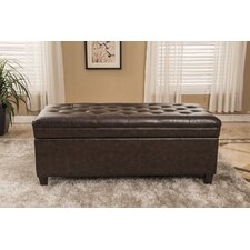 Classic Waxed Texture Dark Tufted Wood Storage Bedroom Bench