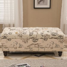 French Writing Postmark Print Tufted Wood Storage Bedroom Bench