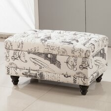 Traditional Paris Vintage French Writing Button Tufted Wood Storage Bedroom Bench
