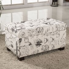 Paris Vintage French Writing Button Tufted Wood Storage Bedroom Bench