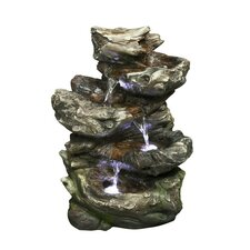 Fiber and Resin 4 Level Log Waterfall with LED lights Fountain