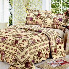 Modern Chic Microfiber Reversible 3 Piece Queen Quilt Set