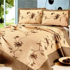 Floral Natural Cotton Embroidery 3 Piece Full / Queen Quilt Set