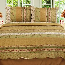 Modern Chic Microfiber Reversible 3 Piece Full Quilt Set