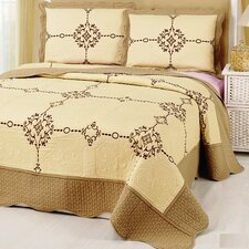 Embroidery Microfiber 3 Piece King Quilt Set