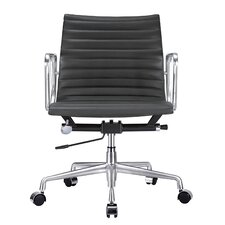 Mid-Back Leather Executive Managerial Chair with Arms