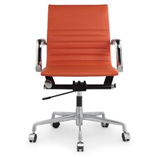 Leather Mid-Back Office Chair with Arms