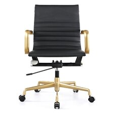 Vegan Leather Mid-Back Office Chair with Arms