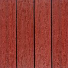 "Naturale Composite 12"" x 12"" Interlocking Deck Tiles in Swedish Red (Set of 10)"