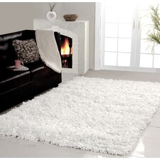 Hand Woven White Shag Area Rug