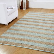 Hand-Woven Natural/Blue Area Rug