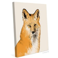 Painted Fox Graphic Art on Wrapped Canvas