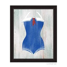 Vintage Sailor Bathing Suit Illustration on Framed Canvas