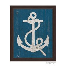 Vintage Anchor Framed Graphic Art on Canvas