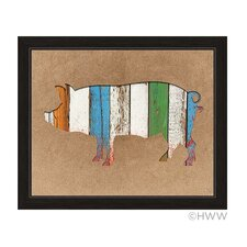 Colored Wood Textured Pig Framed Painting Print