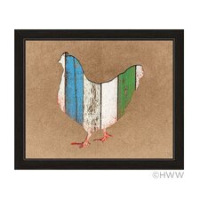 Colored Wood Textured Chicken Framed Painting Print