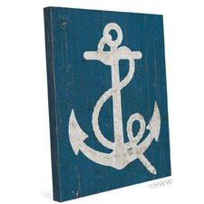 Vintage Anchor Graphic Art on Wrapped Canvas