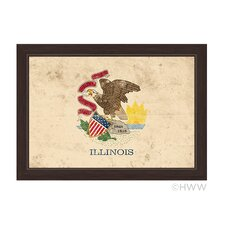 State Of Illinois Flag Framed Vintage Advertisement