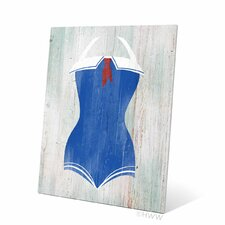 Vintage Sailor Bathing Suit Illustration Metal Graphic Art Plaque