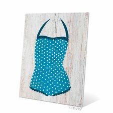 Vintage Blue Polka Dot Bathing Suit Illustration Metal Plaque