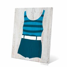 Vintage Blue Striped Beach Outfit Illustration Graphic Art Metal Plaque