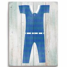 Vintage Blue Striped Beach Outfit Illustration Graphic Art Wood Plaque