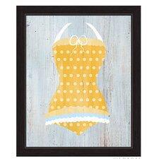 Vintage Yellow Polka Dot Bathing Suit Illustration Framed Graphic Art on Canvas