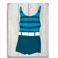 Vintage Blue Striped Beach Outfit Illustration Graphic Art Plaque