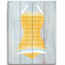 Vintage Yellow Polka Dot Bathing Suit Illustration Graphic Art Plaque