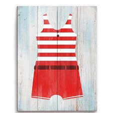 Vintage Red Striped Boy's Beach Outfit Illustration Graphic Art Plaque
