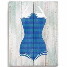 Vintage Blue Stripes Bathing Suit Illustration Wood Graphic Art Plaque