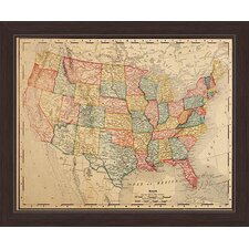Colored Map Of The United States Framed Graphic Art on Canvas